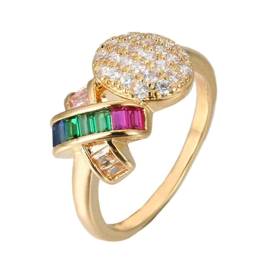 18kGold Over 925 Silver Ring Colorful Gemstone Women Ring  Sz 8