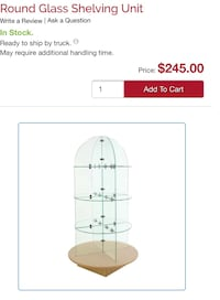 round clear glass shelving unit