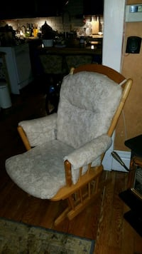 brown wooden framed gray padded glider chair Port Coquitlam, V3B 1N4