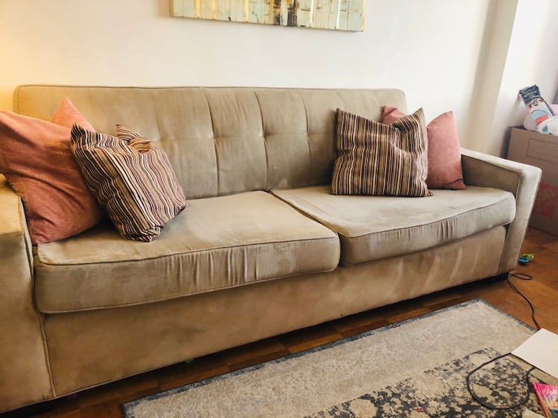 MITCHELL GOLD Sofa and Loveseat CREAM color (used/great condition) c90a4749-eeb4-4060-a732-67377f7ad308