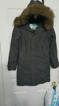 brown and black zip-up parka