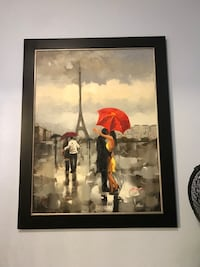 Two couple holding umbrella standing near eiffel towel painting with black frame Menifee, 92584