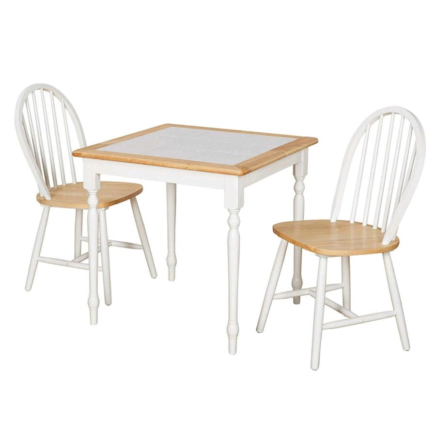 3 Piece Tile Top Wooden Dining Set, White/Natural