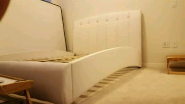 Brand New QUEEN White Faux Leather Bed Frame #204