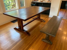 Solid wood table and bench