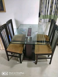 brown wooden framed glass top dining table set Bhayandar