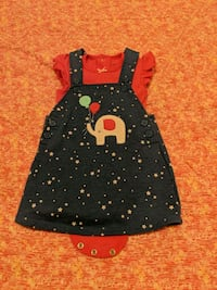 Girl 6m coverall dress & onesie outfit - like new  Surrey, V3W 5S2