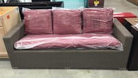 Threshold Heatherstone Wicker Patio Sofa With Red Cushions Toros Home and Garden TX Missouri City, 77459