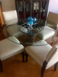 Round Glass Top Table w/ base and 4 custom upholstered chairs Washington, 20005