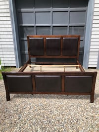 King size Bed Frame mahogany bed with brown Leather inserts