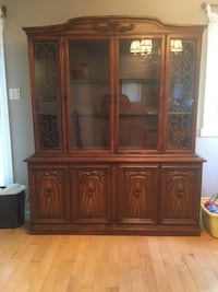 Wooden Display Cabinet with Shelves and Matching  Hutch very nice
