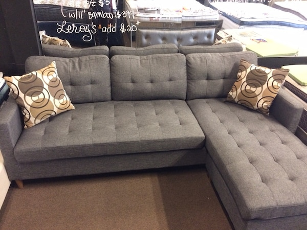 New mid century grey reversible sectional