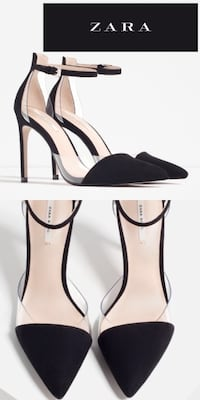 New ZARA Black Suede PVC Ankle Strap Pumps 7.5 Hyattsville