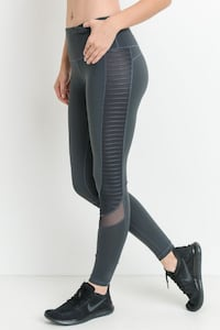 New Striped Knit Paneled With Mesh Leggings Brooklyn