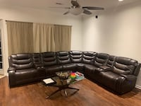 6 seat 2 console dual power reclining top grain leather sectional Destrehan, 70047