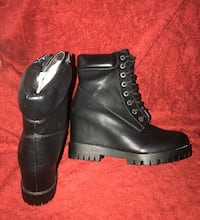 Women's New Black PU Wedge Work Boots! Size 9 Compliments Galore! Baltimore