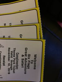4 Six Flag Tickets for Sale Baltimore, 21220