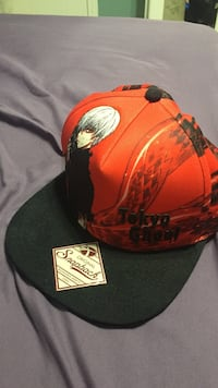 Red and black snapback tokyo ghoul cap