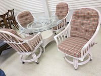 Nice 5 piece dinette set with glass top