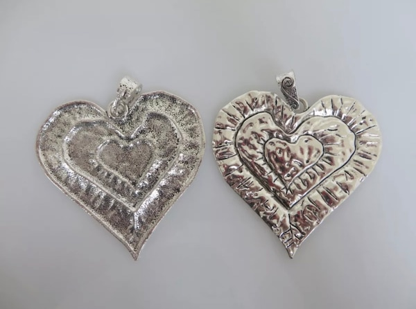 Beautiful Large Abstract metal allow HEART pendants. 16845ef0-eddb-4139-86ac-4dd25408a4c5