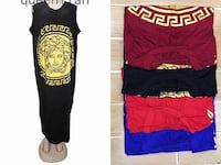 four assorted colors of Versace sleeveless long dress