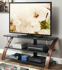 Black brown glass tv stand VERY gently used