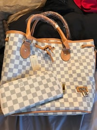 Damier Azur Louis Vuitton leather tote bag Omaha, 68152