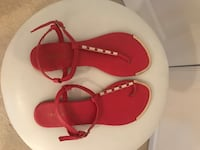 Size 8 Red & Gold Sandals