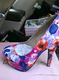 white, blue, and red floral leather pumps Bonita, 91902