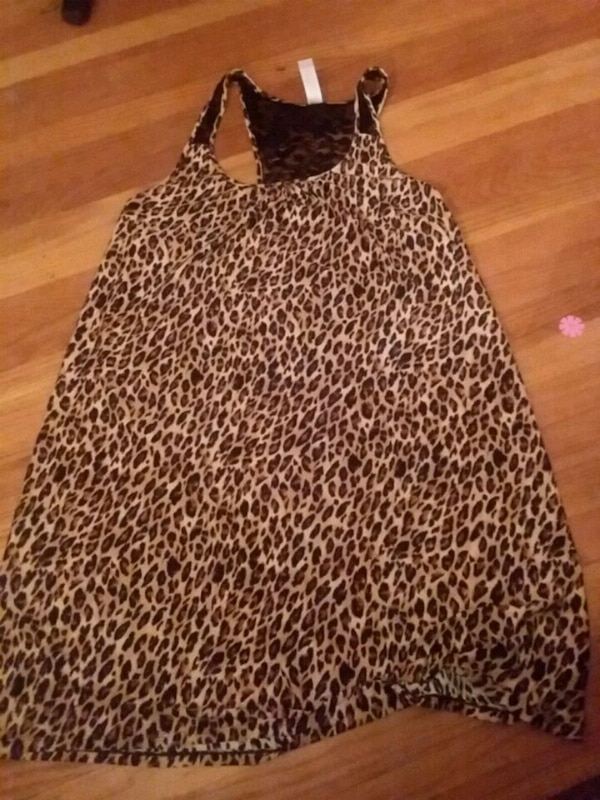 Used Black And White Leopard Print Spaghetti Strap Dress For Sale