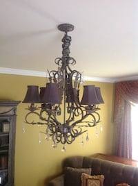 Chandelier w/6 lights patina finish