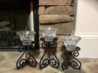 Black metal candle holder with three candle holders Jasper, 30143