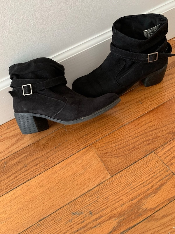 pair of black suede chunky heeled boots