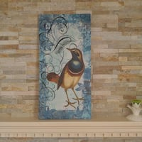 Bird canvas in tranquil blue. null