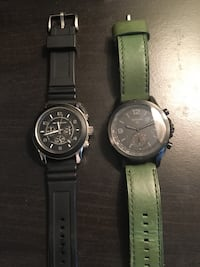two round silver chronograph watches with black leather straps Springfield, 22153