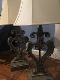 Vintage metal lamps with shades...magnificent detail. Sturdy and well made. Electric. Freehold, 07728