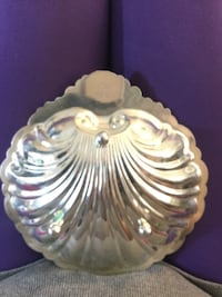 "Silver plated sea shell dish 8"" diameter"