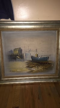 Antique framed painting of boat  New York, 10034