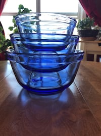 Vintage Blue Anchor Hocking set of 3 Mixing Bowls Calgary, T2W 2H7
