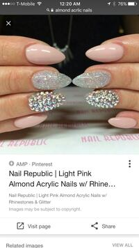 Used Light Pink Almond Acrylic Nails With Rhinestone Accent