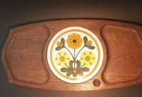 Vintage Teak cheese serving tray with hex floral d Waterloo, N2L 4N5