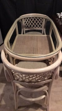 Wicker Table w glass top & 2chairs
