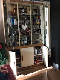 brown and white wooden display cabinet Pitt Meadows, V3Y