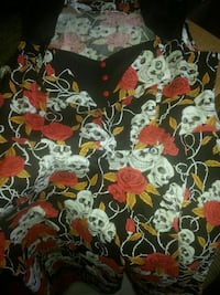 black, white, and red floral and skull printed top