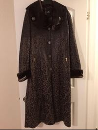 brown and black leopard print overcoat