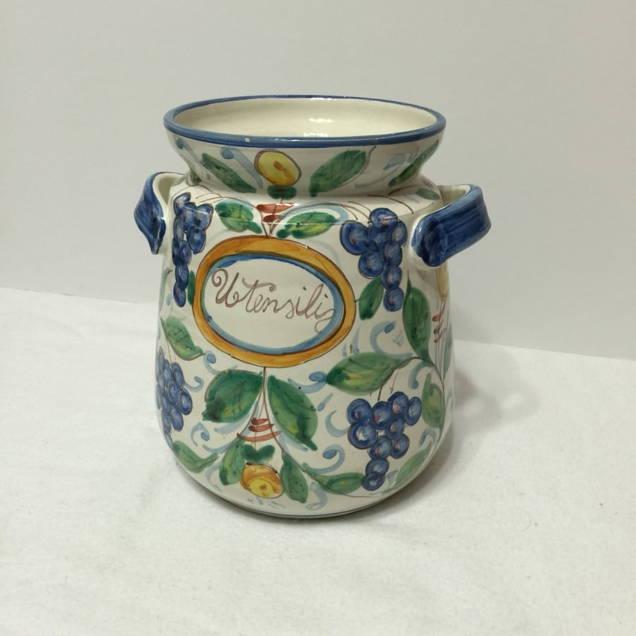 Hand Painted Ceramic Utensil jar from Italy