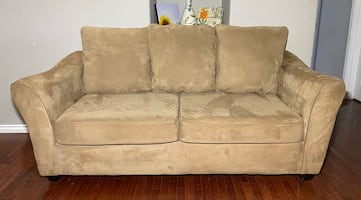 Light Tan/Cream Microfiber Wide 2-Seat Couch w/ Reversible Cushions