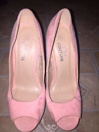 pair of pink suede pointed-toe heeled shoes Toronto, M9B 6B9