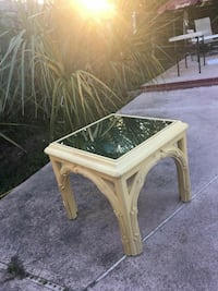 Square white wooden framed mirror top table