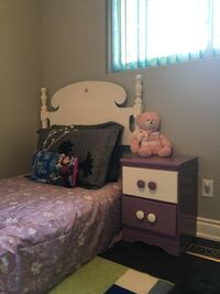 Bed set for a girl purple and white wooden with box and mattress night table and Chester  Toronto, M9V 2H4